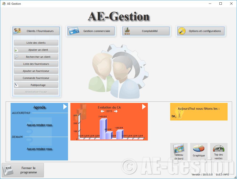 Captures d 39 cran du logiciel ae gestion ae gestion for Photo ecran logiciel